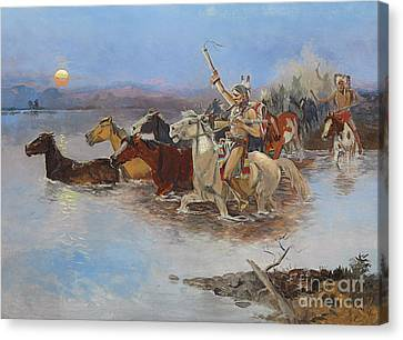 Crossing The River Canvas Print by Charles Marion Russell