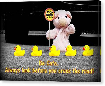Crossing The Road Canvas Print by Piggy