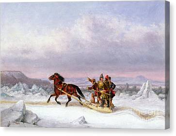 Crossing The Saint Lawrence From Levis To Quebec On A Sleigh Canvas Print by Cornelius Krieghoff