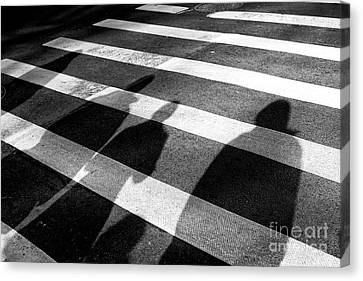 Canvas Print featuring the photograph Crossings Shadow People by John Rizzuto