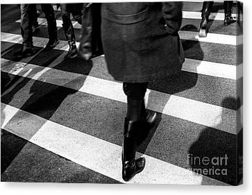 Canvas Print featuring the photograph Crossings Black Boots by John Rizzuto