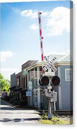Canvas Print featuring the photograph Crossings In Old Town Helena by Parker Cunningham