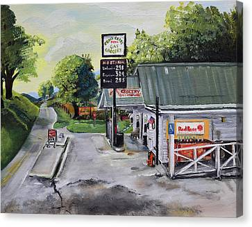 Canvas Print featuring the painting Crossroads Grocery - Elijay, Ga - Old Gas And Grocery Store by Jan Dappen