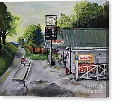 Crossroads Grocery - Elijay, Ga - Signed Canvas Print by Jan Dappen