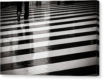 Crosswalk In Rain Canvas Print by photo by Jason Weddington