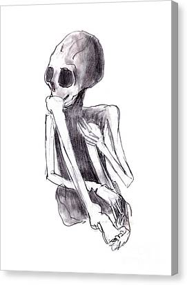 Crouched Skeleton Canvas Print by Michal Boubin
