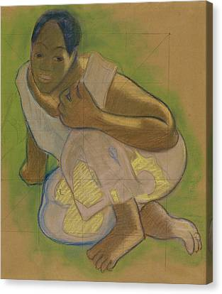 Race Canvas Print - Crouching Tahitian Woman by Paul Gauguin