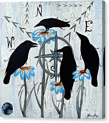 Crow Flowers Canvas Print