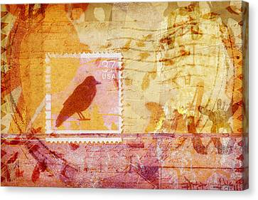 Crow In Orange And Pink Canvas Print by Carol Leigh