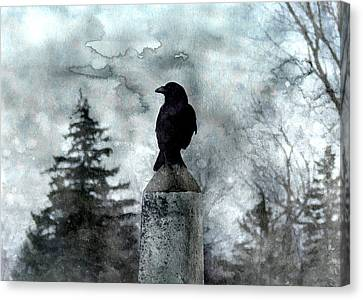 Crow On A Obelisk In Winter Canvas Print by Gothicrow Images