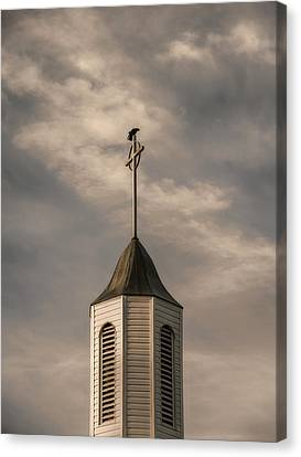 Crow On Steeple Canvas Print by Richard Rizzo