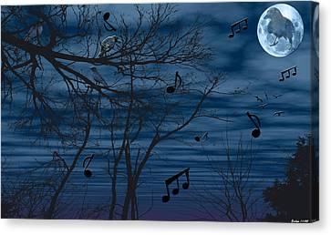 Crow Sings At Midnight Canvas Print by Evelyn Patrick