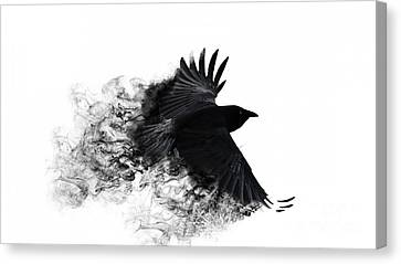 Pyrography Canvas Print - Crow Wallpaper by Andy Maryanto