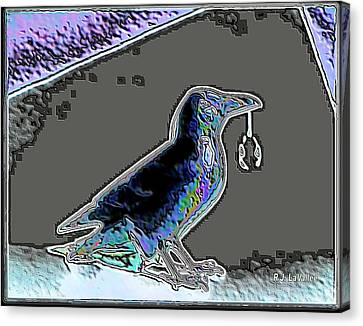 Crow With Crystal 2 Canvas Print