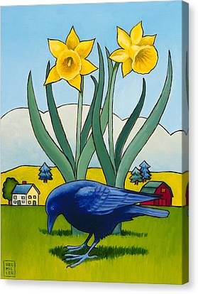 Crow With Daffodils Canvas Print