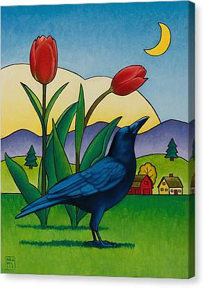 Crow With Red Tulips Canvas Print