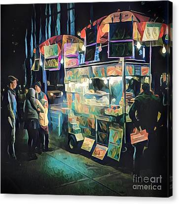 Crowd Around Food Cart At Night Canvas Print