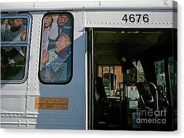 Bus In San Francisco Canvas Print - Crowded Bus by Jim Corwin