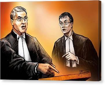 Crown Michael Carnegie Versus Defence Lawyer Dirk Derstine At The Rafferty Trial Canvas Print by Alex Tavshunsky