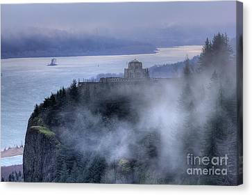 Crown Point Vista House Fog Columbia River Gorge Oregon Canvas Print by Dustin K Ryan