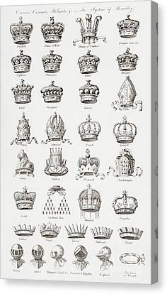 Crowns, Coronets And Helmets Canvas Print
