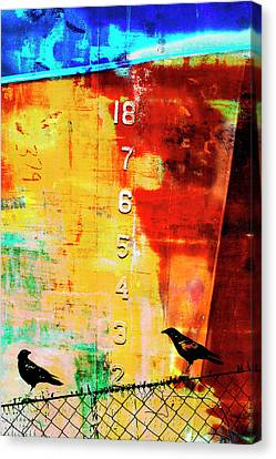 Sound Canvas Print - Crows By The Numbers Mixed Media by Carol Leigh
