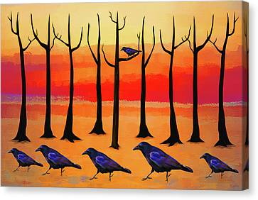 Bare Trees Canvas Print - Crows On Parade by KaFra Art