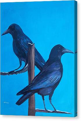 Crows On Tree Top Canvas Print