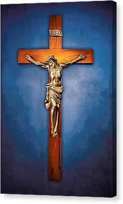 Crucifix On Blue Canvas Print by YoPedro
