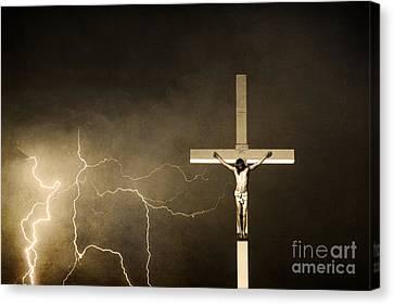 Crucifixion Of Jesus - Sepia Print Canvas Print
