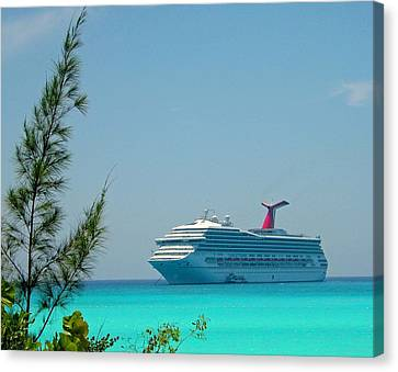Canvas Print featuring the photograph Cruise Ship At Half Moon Cay by Gary Wonning