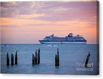 Cruise Ship At Key West Canvas Print by Elena Elisseeva