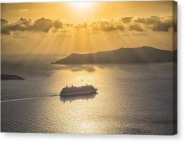 Canvas Print featuring the tapestry - textile Cruise Ship In Greece by Kathy Adams Clark