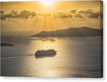 Cruise Ship In Greece Canvas Print