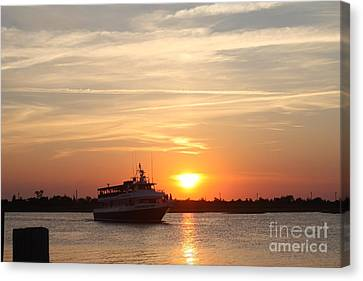 Boats In Water Canvas Print - Cruising At Sunset by John Telfer