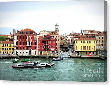 Cruising Into Venice Canvas Print by Mel Steinhauer