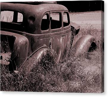 Canvas Print featuring the photograph Crumbling Car by Kae Cheatham
