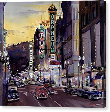 1950 Canvas Print - Crusin' Broadway In The Fifties by Mike Hill