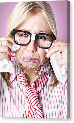 Cry Baby Businesswoman Crying A Waterfall Of Tears Canvas Print