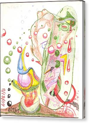 Crying Green Amoeba - Doodle Canvas Print by Rod Ismay