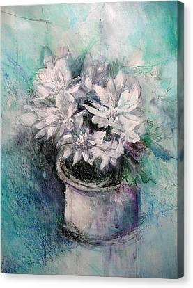 Canvas Print featuring the painting Crysanthymums by Chris Hobel