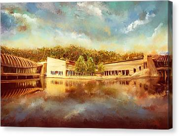 Crystal Bridges Museum Of American Art Canvas Print by Lourry Legarde