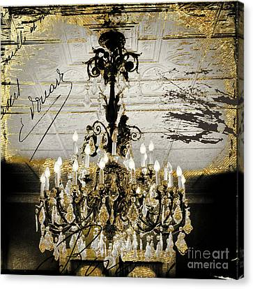 Crystal Chandelier Gold And Silver Canvas Print by Mindy Sommers