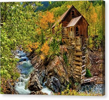 Crystal Mill Fall Colors Canvas Print