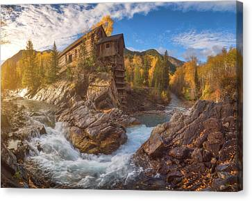 Crystal Mill Fall Sunrise Canvas Print by Darren White