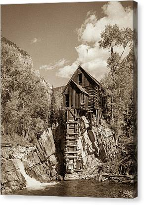 Crystal Mill Sepia Canvas Print