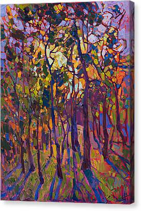 Canvas Print featuring the painting Crystal Pines by Erin Hanson