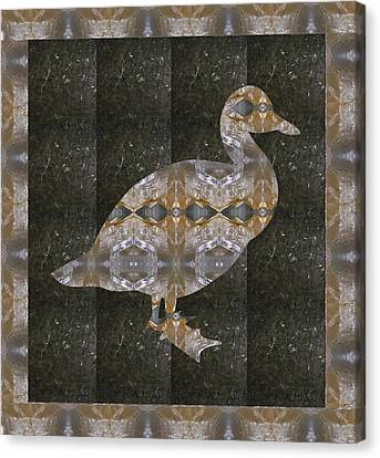Crystal Stone Duck N Border Bird Canvas Print
