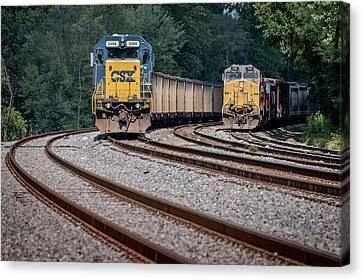 Csx Train Canvas Print - Csx N855-15 And Q513 Sit At Evansville Indiana by Jim Pearson
