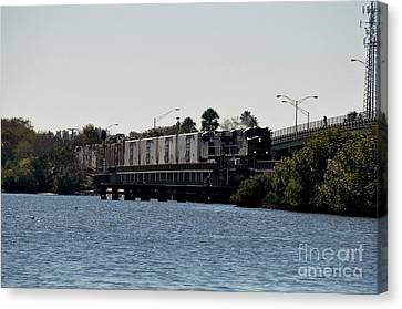 Canvas Print featuring the photograph Csx Over The Alafia by John Black
